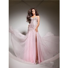 Elegant Sweetheart Pink Beaded Sequins Chiffon Flowy Prom Dress With Slit