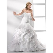 Elegant Trumpet/ Mermaid Strapless Court Train Organza Wedding Dress With Ruffles Crystal