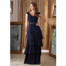 Elegant V Neck Navy Blue Chiffon Ruffle Tiered Mother Of The Bride Evening Dress