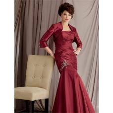 Elegant mermaid floor length burgundy taffeta mother of the bride dress with jacket