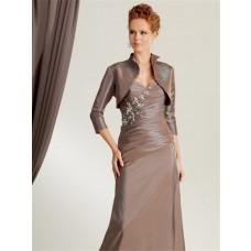 Elegant mermaid sweetheart floor length brown taffeta mother of the bride dress with jacket