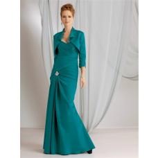 Elegant mermaid sweetheart long jade modern mother of the bride dress with jacket