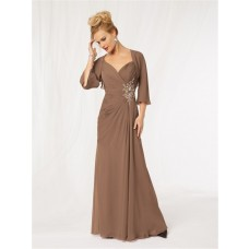 Elegant spaghetti strap long brown chiffon beaded mother of the bride dress with jacket