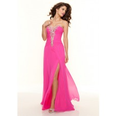 Elegant sweetheart floor length hot pink chiffon prom dress with beading