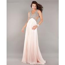 Empire Waist Side Cut Out Backless Long Pale Pink Chiffon Beaded Prom Dress