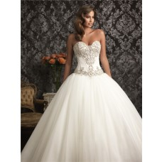 Exquisite Ball Gown Sweetheart Organza Satin Corset Wedding Dress With Swarovski Crystals