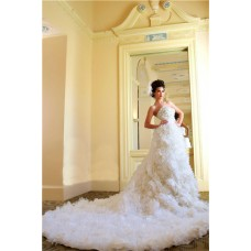 Fairy Dream Ball Gown Strapless Organza Floral Wedding Dress With Long Train