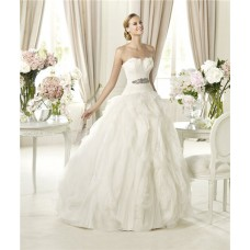 Fairy Princess Ball Gown Sweetheart Feather Layered Organza Wedding Dress With Belt