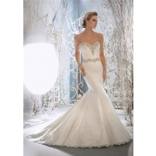 Fairy Tale Mermaid Sweetheart Crystal Beaded Satin Wedding Dress With Lace Buttons