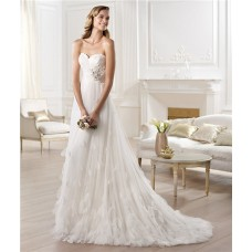 Fairy Tale Princess A Line Sweetheart Tulle Wedding Dress With Petals