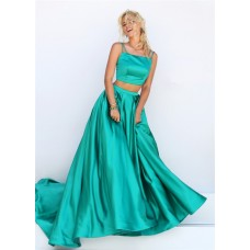 Fantastic A Line Two Piece Green Silk Satin Prom Dress With Spaghetti Straps