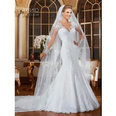 Fantastic Mermaid Scalloped Neck Sheer Long Sleeve Tulle Lace Wedding Dress