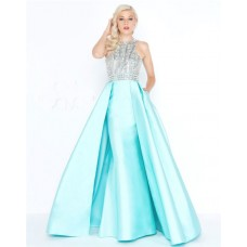 Fantastic Sheath High Neck Aqua Satin Beaded Evening Prom Dress With Overskirt
