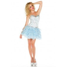 Fashion Ball Strapless Short/ Mini Light Blue Feather Beaded Homecoming Cocktail Dress