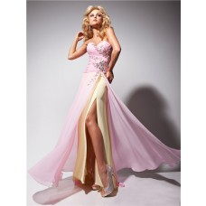 Fashion Couture Sweetheart Long Pink Gold Chiffon Prom Dress With Beading