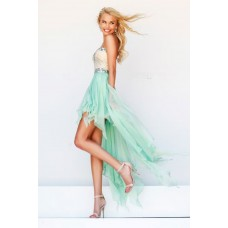 Fashion High Low Sweetheart Mint Green Chiffon Ruffle Beaded Party Prom Dress