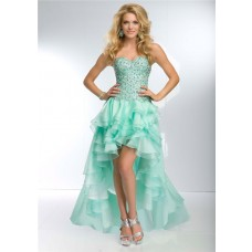 Fashion High Low Sweetheart Neckline Mint Green Organza Ruffle Beaded Prom Dress