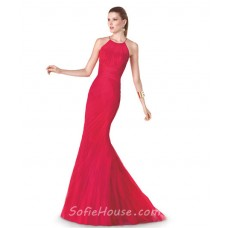 Fashion Mermaid Scoop Neck Red Tulle Ruched Evening Prom Dress