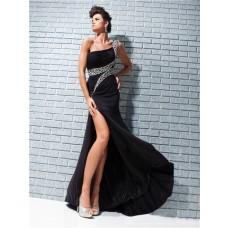 Fashion New One Shoulder Long Black Chiffon Evening Prom Dress With Beading