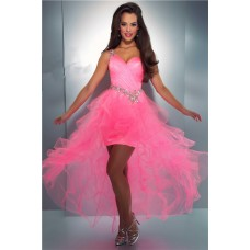 Fashion One Shoulder Hi Low Pink Organza Ruffle Beaded Party Prom Dress