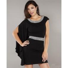 Fashion One Sleeve Short Mini Black Chiffon Beaded Club Cocktail Party Dress
