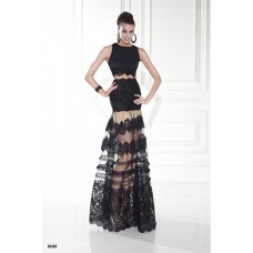 Fashion Two Piece Black Lace See Through Prom Dress