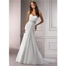 Figure Flattering A Line Sweetheart Ruched Chiffon Wedding Dress With Swarovski Crystal