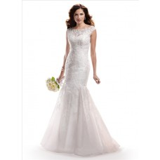 Fit And Flare Mermaid Bateau Neck Organza Lace Wedding Dress With illusion Back