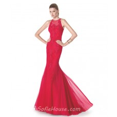 Fit And Flare Mermaid Scoop Neck Red Tulle Lace Long Evening Prom Dress