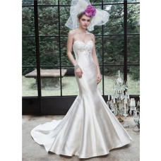 Fit And Flare Mermaid Strapless Ivory Satin Applique Corset Wedding Dress