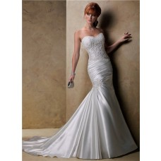 Fit And Flare Mermaid Sweetheart Beaded Lace Satin Wedding Dress With Corset Back
