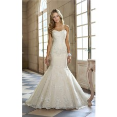 Fit And Flare Mermaid Sweetheart Ivory Lace Corset Wedding Dress