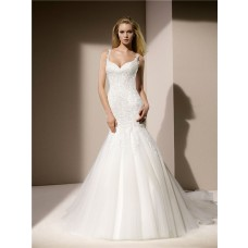 Fit And Flare Mermaid Sweetheart Neckline Venice Lace Tulle Wedding Dress With Straps