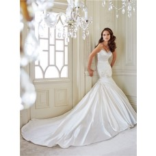 Fit And Flare Mermaid Sweetheart Ruched Satin Corset Wedding Dress With Spaghetti Straps