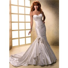 Fit And Flare Mermaid Sweetheart Ruched Satin Wedding Dress With Flowers