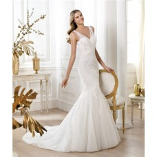 Fit And Flare Mermaid V Neck Tulle Lace Wedding Dress With Sheer Straps