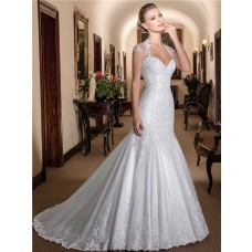 Fit And Flare Queen Anne Neckline Cap Sleeve Tulle Lace Mermaid Wedding Dress