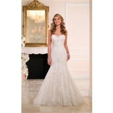 Fit And Flare Strapless Sweetheart Lace Beaded Wedding Dress With Buttons