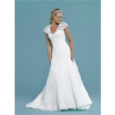 Fitted A Line Cap Sleeve Keyhole Open Back Tulle Lace Beaded Wedding Dress