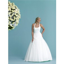 Fitted A Line Princess Halter Pleated Tulle Lace Corset Wedding Dress Long Train