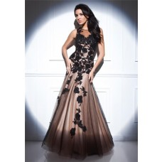 Fitted A Line Sheer Illusion Neckline Nude Satin Black Tulle Lace Beaded Evening Prom Dress