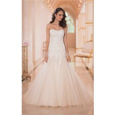 Fitted A Line Strapless Champagne Colored Tulle Lace Corset Wedding Dress