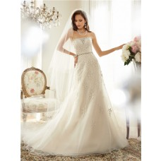 Fitted A Line Strapless Organza Lace Beaded Corset Wedding Dress Crystals Belt