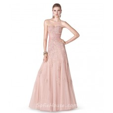 Fitted A Line Strapless Sweetheart Long Blush Pink Tulle Lace Evening Prom Dress