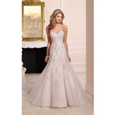 Fitted A Line Strapless Sweetheart Tulle Lace Beaded Wedding Dress