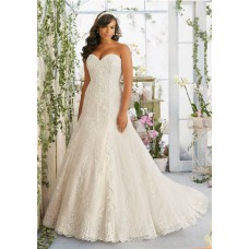 Fitted A Line Sweetheart Lace Beaded Plus Size Wedding Dress With Buttons