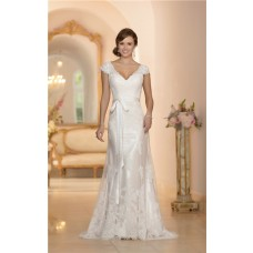 Fitted A Line V Neck Cap Sleeve Open Back Lace Wedding Dress With Sash