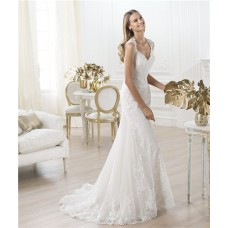 Fitted A Line V Neck Sleeveless Illusion Sheer Back Lace Wedding Dress