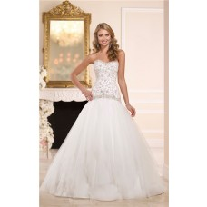 Fitted Ball Gown Sweetheart Embroidery Satin Tulle Wedding Dress Corset Back
