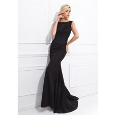 Fitted Bateau Neckline Backless Long Black Chiffon Lace Special Occasion Evening Dress